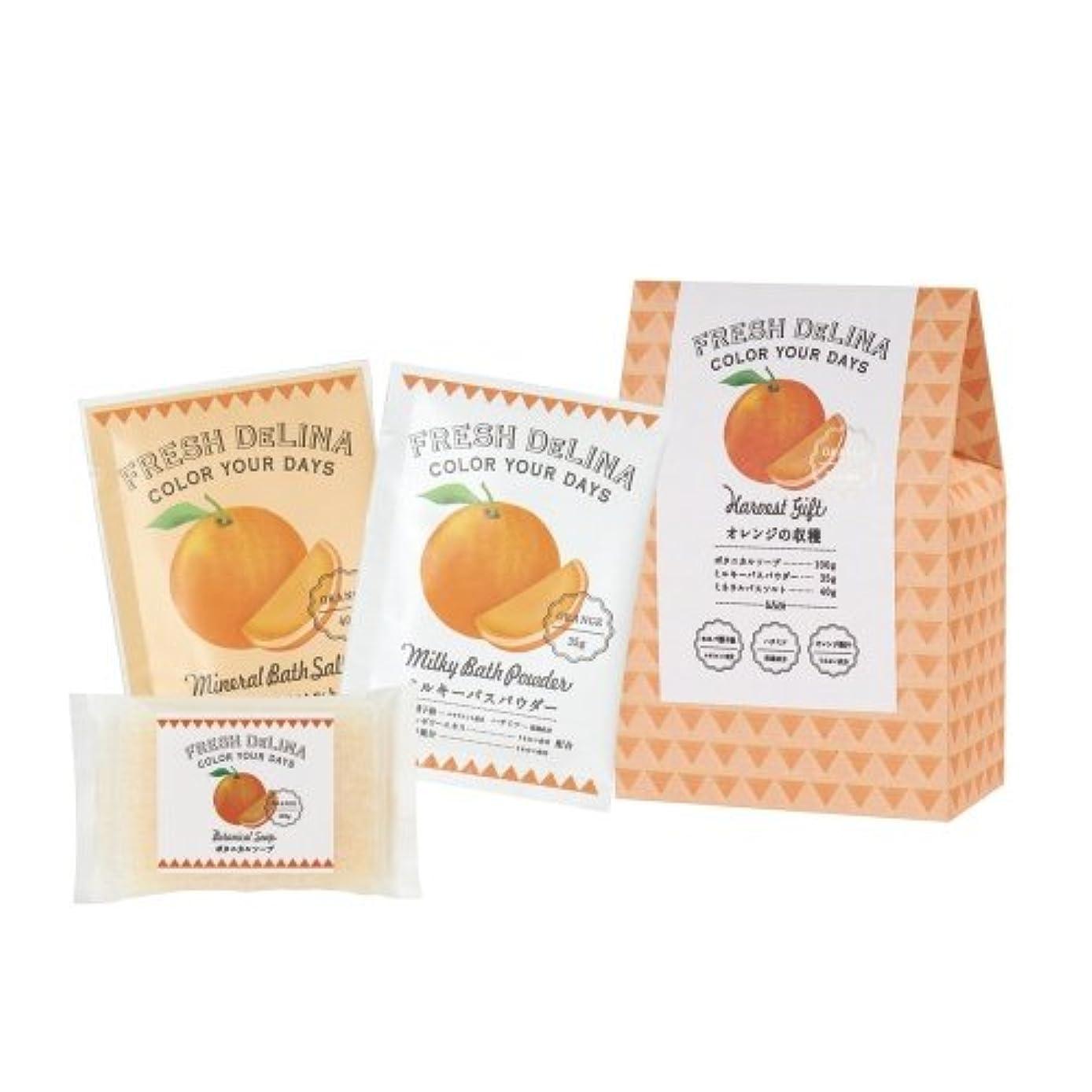 スプーン無礼に組み合わせフレッシュデリーナ ハーベストギフト オレンジ (ミルキバスパウダー35g、ミネラルバスソルト40g、ボタニカルソープ100g 「各1個」)