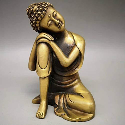 """xinxinchaoshi Buddha-Figur Messing 4.7"""" (H) Napping Indian Buddha Statue Gold-Hauptdekor Warming Geschenk Buddha-Skulptur Feng Shui Dekoration"""