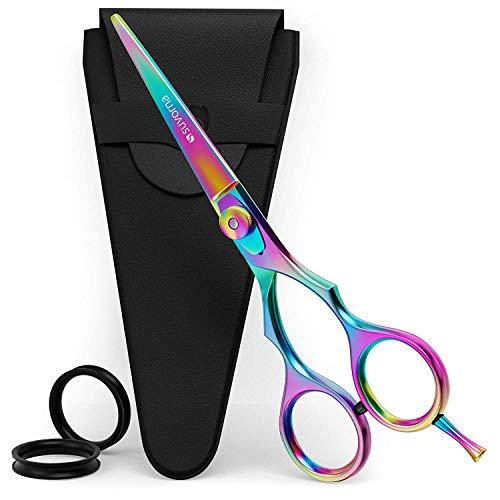Suvorna Forbici professionali da parrucchiere Razeco E45 da, forbici multicolore per il taglio dei capelli, forbici affilate da barbiere, forbici da parrucchiere arcobaleno con regolazione.