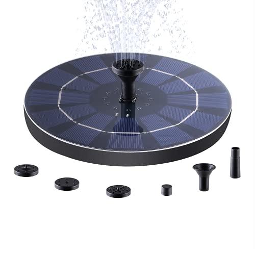 VALKIA Fontana Solare, 2.5W Pompa ad Acqua Solare Fontana da Giardino, 18cm Pannello Solare con 800mAH Batteria, con 4 Ugelli, per Bagno per Uccelli,Acquario,Stagno o Decorazione del Giardino