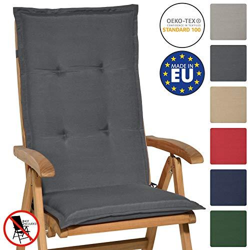 Beautissu Hochlehner Auflage Loft HL 120x50x6cm Sitzkissen Rückenkissen Hoch Stuhlkissen mit Schaumkern-Füllung Graphit-Grau mit Oeko-Tex in diversen Farben