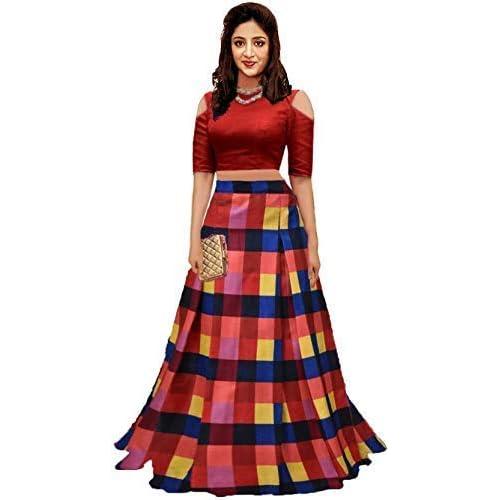 2901cc185 Clickedia Women's Digital Print Bangalori Silk Semi- Stitched Lehenga  Choli_ Free Size_ Dress Material (