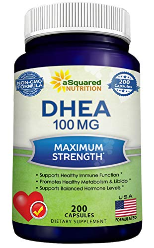 DHEA (100mg Max Strength, 200 Capsules) to Promote Balanced Hormone Levels for Women & Men - Natural DHEA Supplement Pills to Support Healthy Metabolism, Libio, Brain, Immune Function & Pure Energy
