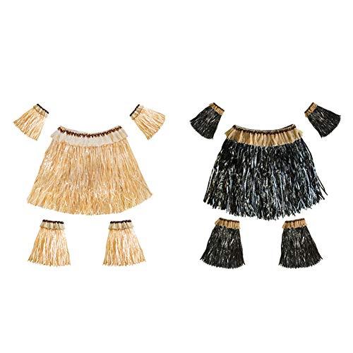 Ruiting Hawaii Grass Skirt Set 2sets für Frauen Männer Hawaii-Rock Luau Kostüm Versorgung Elastic Hula Rock