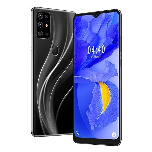 Yunir Smartphone con Pantalla de caída de 6,7 Pulgadas, Negro 2 + 16G Desbloqueo Facial con Huella Dactilar Teléfono móvil Dual con Doble Modo de Espera y Tarjeta de Memoria 128G(EU Plug)