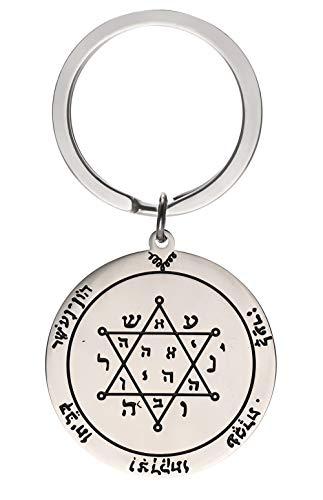 LIKGREAT Schlüsselanhänger, Edelstahl, Salomon, Pentagramm, minimalistisch, rund, Talisman-Schlüsselanhänger, Wicca-Schmuck für Männer und Frauen Pentagramm von Jupiter