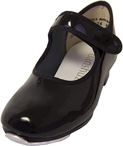 Danshuz Girls Loop Tape Fastener Tap Shoes (Black, Size 11) - 530
