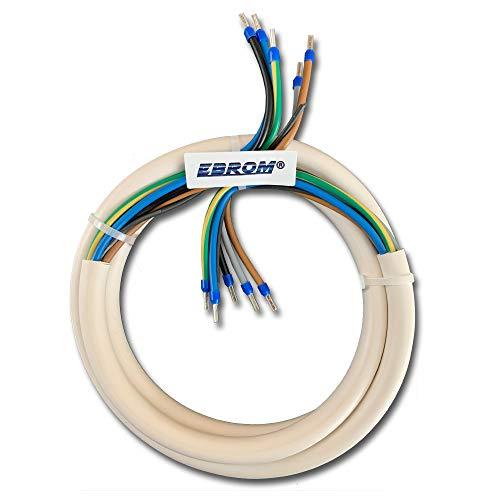 EBROM Herdanschlusskabel H05VV-F 5x2,5 mm² (5G2,5) WEIß - 4 Meter - komplett fertig konfektioniert, gecrimpt mit Aderendhülsen blau - 3 N PE - (4m) - Herdanschlussleitung