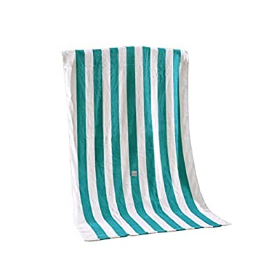 Exclusivo Mezcla 100% Cotton Cabana Striped Beach Towel Caribbean Blue and White (30  x 60 )—Soft, Quick Dry, Lightweight, Absorbent, and Plush