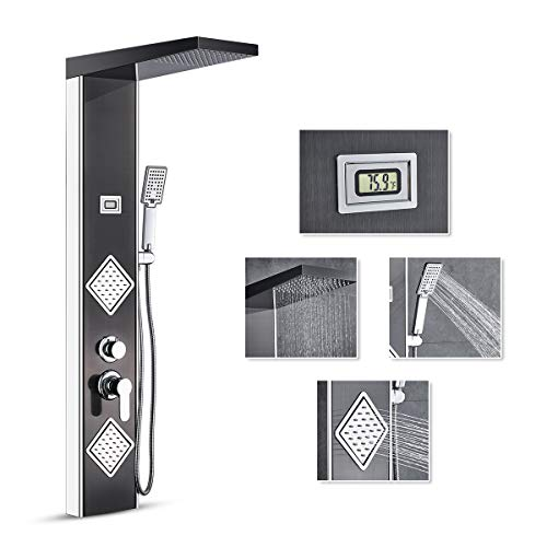 ROVATE Black Rainfall Shower Panel System Wall Mounted, 2 Body Massages&3-Function Handheld Shower, Stainless Steel Bathroom Shower Panel Tower with Water Temperature Display, Chrome Finish