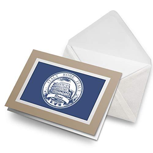 Awesome Greeting Cards - Tarjeta de felicitación en blanco con diseño de bandera italiana de Roma