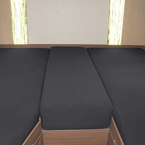 G Bettwarenshop Wohnmobil Wohnwagen Heckbett Spannbetttuch-Set 3-teilig Titanium, 2 Längsbetten + Mittelteil