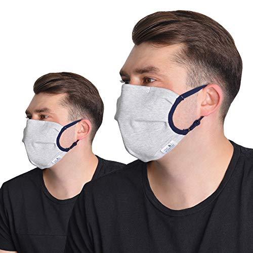 FEELPROTECTED® [2er-Set] Schutzmasken | Öko-Tex-Baumwolle | 2-lagig | extra Silberinonen-Beschichtung | wiederverwendbar waschbar S/M [MADE IN EU]