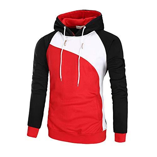 WYPAN Sudadera con Capucha Casual Colorblock para Hombre-Rojo_M Sudaderas con Capucha para Hombre Otoño Invierno Deporte Outwear Hoodie Pullover Sweat Hood Sweatshirt