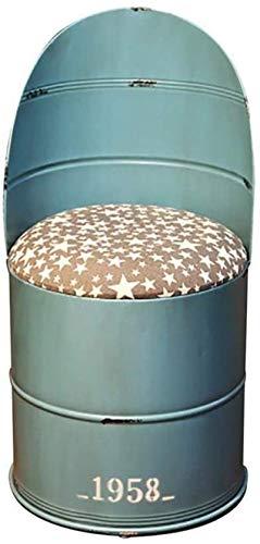 JYV Almacenamiento metálico Taburete tapizado de Barril con Barra de Respaldo Silla de Cocina para el hogar, una Pieza/Dos Piezas (Size : Blue)