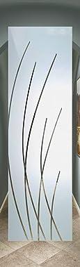SANS Soucie - / Interior Door - Sleek Arcs - 1D Negative Frosted - Geometric / Primed