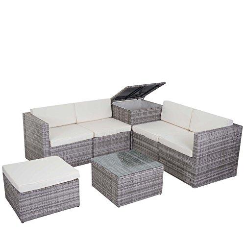 Mendler Poly-Rattan-Garnitur HWC-D21, Gartengarnitur Sofa Set ~ grau, Kissen Creme ohne Deko-Kissen