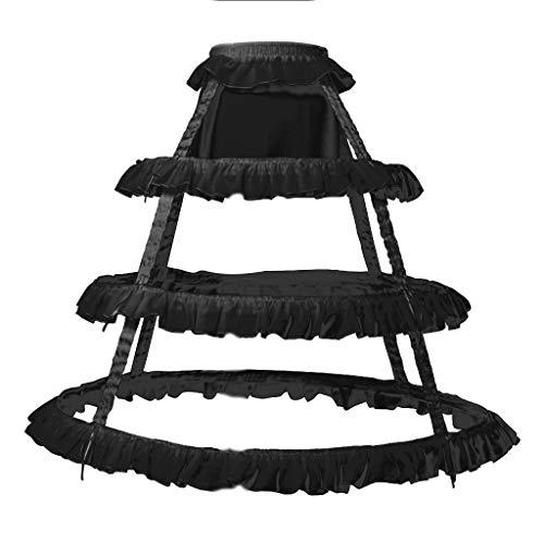 SimpleLife Womens Vintage Petticoat 3 hoepels geplooide ruches A-lijn Bruiloft Bruidsjurk Jurk Cosplay Crinoline Onderrok