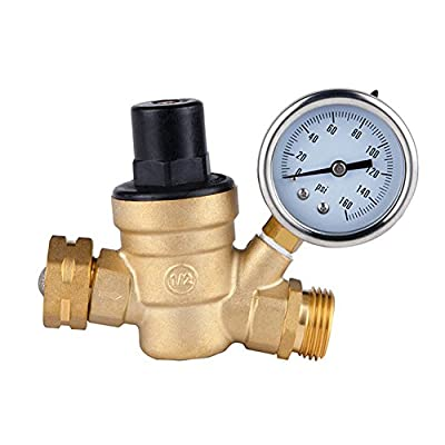"""Petift Water Pressure Regulator with Guage and Inlet Screened Filter stainless Brass Lead-free Adjustable manual operation pressure regulating valve DN20 1.6mpa 3/4"""" NH Thread with Gauge for RV Camper by Petift"""