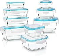 kichly - contenitori per alimenti in vetro - 18 pezzi (9 contenitori e 9 trasparente coperchi) - adatto per lavastoviglie, microonde e congelatore - senza bpa, approvato dalla fda e dal fsc