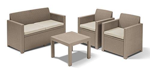 Keter Alabama Lounge Set, Mobili da Giardino con Divano 2 Posti, 2 Poltrone e Tavolino, Cappuccino