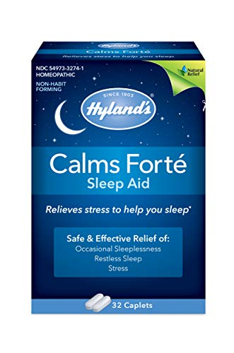 Hyland's Calms Forte' Sleep Aid Caplets, Natural Relief of Nervous Tension and Occasional Sleeplessness, 32 Count