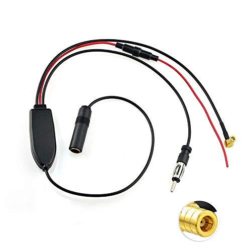 Eightwood DAB+ Antenne DAB FM/AM SMB Female DIN Male Digital Radio Antenne Splitter mit Signal Amplifier RG174 für Blaupunkt Pioneer MVH-X580 DAB MEHRWEG