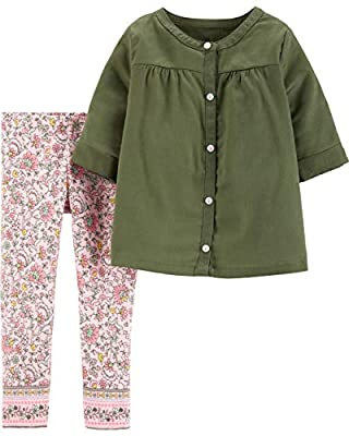 Carter's Toddler 2-Piece Leggings Set Outfit - Olive Multi, 4t