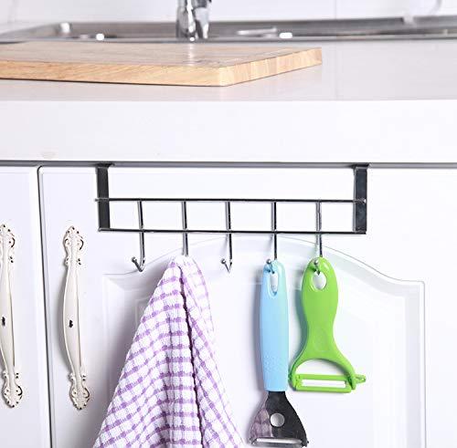 COLIBYOU 3 Packs Over The Cabinet Door Hooks, 5 Hooks Organizer Rack - Wardrobe Hanger - Kitchen Office Storage, Chrome Finish