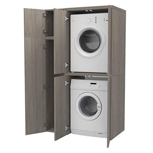Ve.Ca. Colonna + vano accessorio con ante Copri lavatrice/Asciugatrice in legno, diversi colori, anche su misura, lavanderia bagno (Rovere grigio)