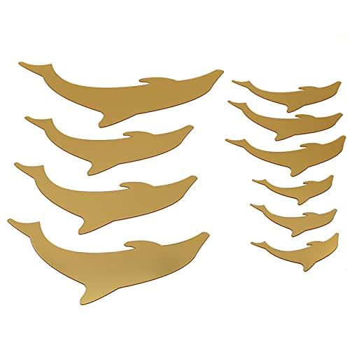 SUNSKYOO Lindo delfines espejo DIY Kids Room Home Decoratio decoración para pared, dorado