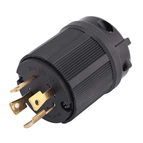 NEMAL L14-30P Enchufe hembra, NEMA L14-30P 30A 125V-250V Twist Lock Enchufe de alimentación macho de 4 terminales para ensamblaje del cable del generador, cuenta con 4 orificios