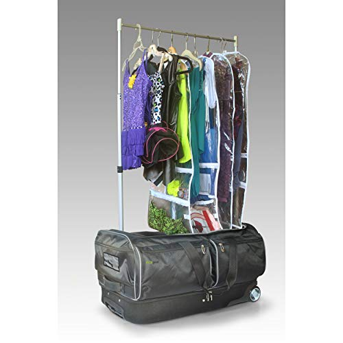 Ecogear 28in Wheeled Duffel with Garment Rack Black Solid Polyester Drop Bottom Multi-Compartment Rolling Water Resistant