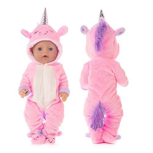 ebuddy Rosa Lächeln Gesicht Einhorn Puppe Kleidung Set für 43cm / 17 Zoll Neugeborene Babypuppen Dazu gehören Strampler und Schuhe (Keine Puppe)