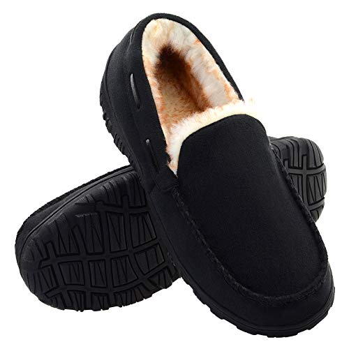 Vonair Mens Moccasin Slippers Indoor Outdoor Slip on House Shoes Breathable Moccasins for Men 12 US Black
