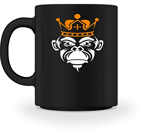 Taza con diseño de El mono con la corona, Negro, M