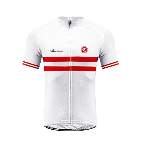 Uglyfrog Sport & Freizeit Herren Fahrradtrikot,Österreich Flag Streifen Designs Outdoor Männer Kurzarm Radtrikot Jersey/Fahrradbekleidung,Schnell Rocknend Fahrradkleidung Für Rennrad,Radsport