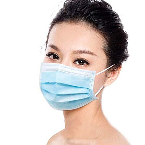 20 Stücke Weich Disposable Mundschutz Maske 3-Lagig Masken Staubdicht Einwegesschutzmasken Atemmasken mit Ohrringe, Blau