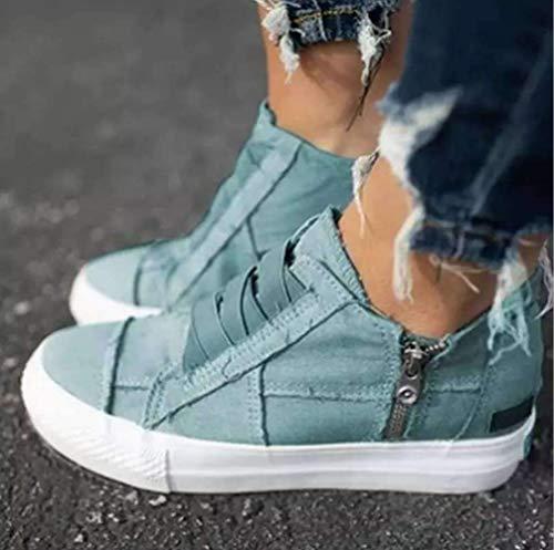 Sallypan Frauen Flache Schuhe Leinwand Frühling Herbst Sommer Weibliche Vulcanize Schuhe Sneaker Knöchel Side Zipper Schuhe Damen-Schuhe,Lake Blue,39