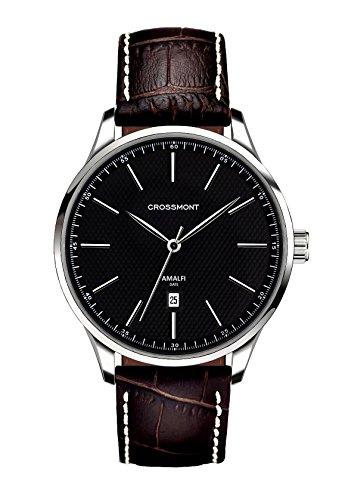Crossmont Amalfi, orologio con calendario nero quadrante analogico display e cinturino in pelle marrone scuro CW0110509