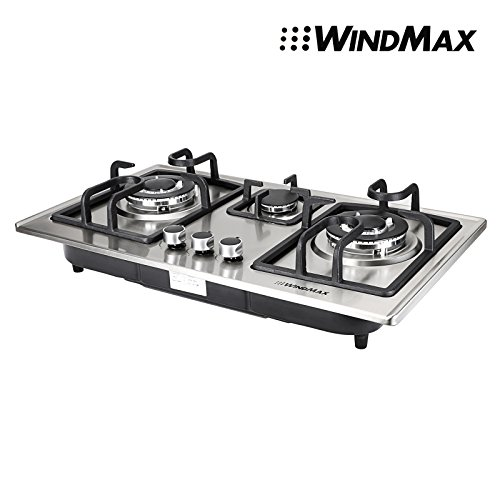 28-in-Silver-Stainless-Steel-3-Burner-Built-In-Stove-NG-Gas-Cooktop-Cooker-8350W