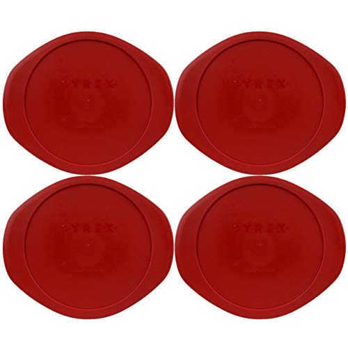 Pyrex 024-PC Round Poppy Red Plastic Lid Cover Replacement for Glass Dish - 4 Pack