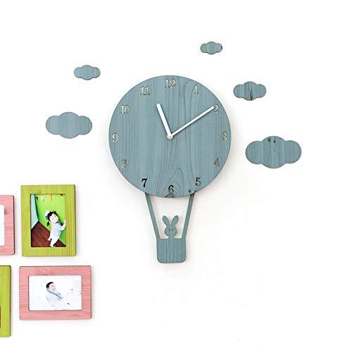DIEFMJ Reloj de pared con globo de aire caliente azul creativo, silencioso, dormitorio infantil, decoración del hogar, artículos de decoración ornamental, regalos para niños, 26 x 40 cm