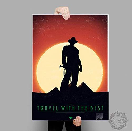 ysldtty Plakate und Drucke Indiana Jones Poster Adventure Classic Movie Leinwand Malerei Wandkunst Bild Home Decor E391 Rahmenlos 40cmx60cm