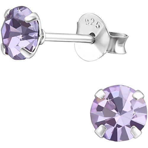 EYS Jewelry redondas Mujer Pendientes Plata de ley 925brillantes de cristales de 6mm Pendientes de mujer joyas