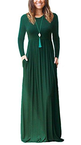 VIISHOW Women's Long Sleeve Empire Waist Maxi Dresses with Pockets(Dark Green,Medium)