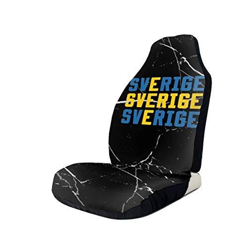 Little Yi Sverige Schweden Schwedische Flagge Autositzbezüge Set Wasserdichter Vordersitzschutz Passend für die meisten Autos