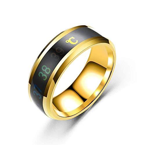 Chambre Thermomètre Jewel Ring, changement de couleur montre l'amour Mesure de la température magique en acier inoxydable Changement de couleur Mariage (3), Taille: 11#, Couleur: Noir