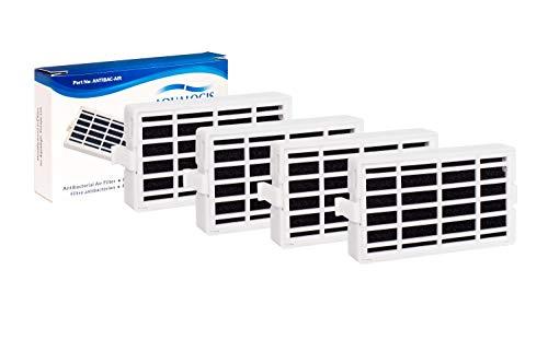 Aqualogis Paquete de 4 - Filtro antibacteriano para el frigorífico Whirlpool, Indesit, KitchenAid, Hotpoint - compatible con el sistema aire sano Microban ANT001, ANT-001, ANTF-MIC, 481248048172 🔥