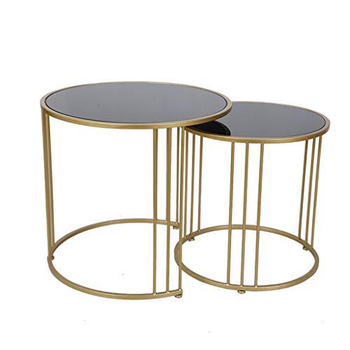 Table Basse d'appoint côté Rond avec Rangement pour Salon Tables d'appoint Rondes et Basses gigognes prémontées pour Petits espaces, Ensemble de 2